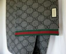Gucci Jacquard Grey and Black Two Tone Scarf - 100% Wool - Green and Red Web