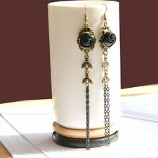 1pair Fashion Gothic Ear Studs Lace Earrings Handmade Black Rose Vintage