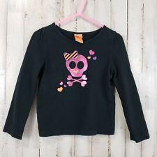 Halloween Girls Long Sleeve T Shirt 3T Black Skull & Cross Bones Bow Hearts VX6