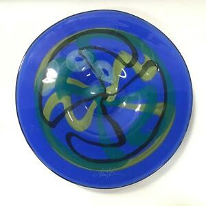 Round Art Glass Decorative Plate With Recess Signed New A #452
