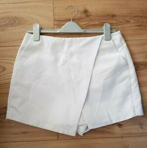 TOPSHOP White Textured Hybrid Skort Skirt Shorts Size UK 12 With Pockets