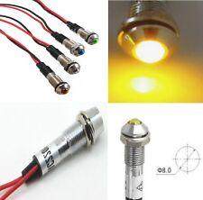 2 x SPIA LED di segnalazione GIALLO 230V 8mm metallo cromato da pannello 2Pz.
