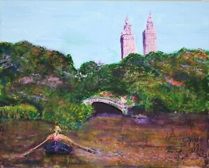 Teena Stewart Rowing on Central Park Lake Original 16x20 Framed Acrylic Painting