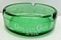 "Golden Gate Casino Las Vegas NV Green Glass 3 3/8"" Round Ashtray White Print"