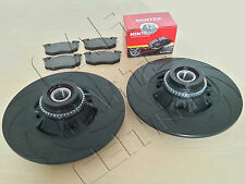 FOR CLIO SPORT 172 182 REAR BLACK 12 GROOVED BRAKE DISCS ABS BEARINGS PADS