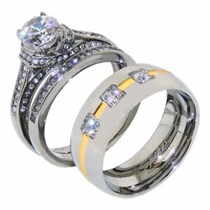 Couples Luxury Her Round Cut CZ Wedding RING SET His 3 CZs Band with Gold Stripe