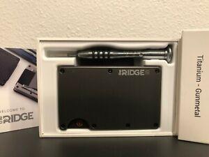 The Ridge Wallet Titanium Gunmetal + Cash Strap (BRAND NEW UNOPENED)