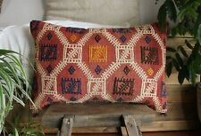 (40*60cm, 16*24cm) Handwoven Vintage kilim cover - soft red with brocaded motifs