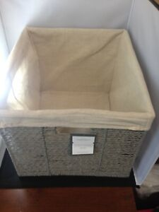 """Twisted Paper Rope Large Milk Crate Gray 11""""x13"""" - Threshold"""