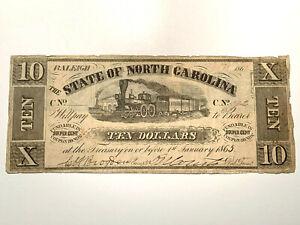1862 $10 State of North Carolina Raleigh - Cr NC-83