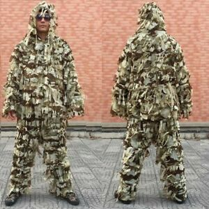 3D Ghillie Suit Clothing Tactical Hunting Sniper Birding Pants Hooded Jacket CS