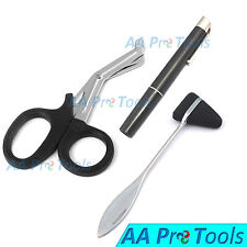"Black Trauma Paramedic Shears Scissors 7.5""+LED Reusable PenLight+ Taylor Hammer"