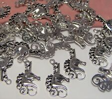BULK-WHOLESALE LOT 50 FANCY SILVER UNICORN CHARMS-MYSTICAL-MAGICAL-EARRING DROPS