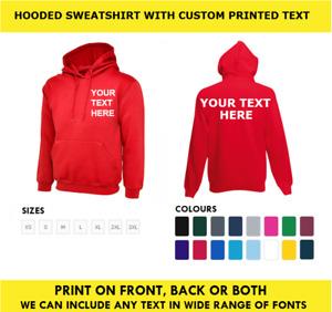 Personalised Printed Deluxe HOODIE Hooded Sweatshirt Work Sport Customised TEXT