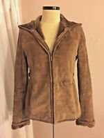 Esprit Brown Suede Leather Shearling Hooded Coat S Peplum