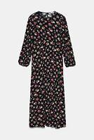 ZARA WOMAN NWT SALE! PRINTED MIDI DRESS FLORAL PRINT BLACK SIZE S REF: 4886/266