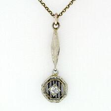 "Antiguo Art Déco 14k Diamante Oro Colgante Collar con / Original 17.5"" Cadena"