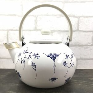 White Enamelware Large Tea Pot Delicate Blue Flowers With Lid & Drip Stopper