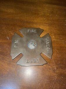 """Brass Shield Badge Camden Fire Department NJ 4 3/4"""""""