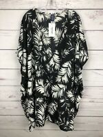 Swimsuits For All Cover Up Women's Dress Size 3X/4X Palm Print Tassel Tie NWT