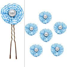 6 épingles pics cheveux chignon mariage mariée fleur vichy bleu perle blanche