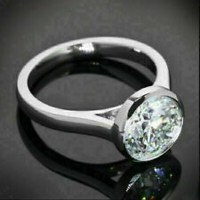 Diamond 14k White Gold Over Ring Sn Engagement Wedding Ring Bezel 2.1 Ct Round