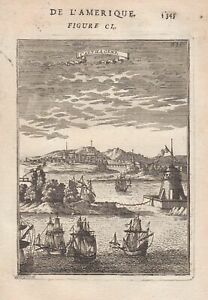 Cartagena Colombia South America Mallet engraving Kupferstich 1683