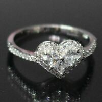 1.5 Ct Heart Cubic Zirconia Ring Women Wedding Jewelry 14K White Gold Plated