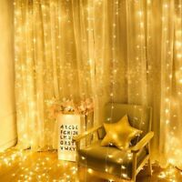 3x3M 300LED Window Curtain Icicle String Fairy Light Outdoor Wedding Party Decor