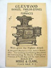 Wood Cook Stove Trade Card Glenwood Weir Stoves Hadge & Clark Peace Dale RI