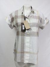 Burberry Brit Blouse Check Print Short Sleeve Cotton Shirt XS