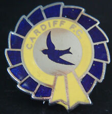 CARDIFF CITY FC Vintage club crest type badge Brooch pin In chrome 28mm x 30mm
