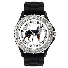 Catahoula Leopard Dog Crystal Rhinestone Mens Ladies Silicone Wrist Watch Sg203P