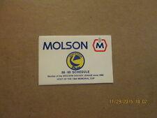 WHL Saskatoon Blades Vintage 88-89 Logo Pocket Schedule