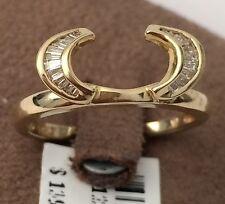 14K Yellow Gold Enhancer Diamonds Ring Guard Wrap  solitaire Wedding Engagement