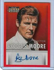 """RARE 2015 PANINI AMERICANA ROGER MOORE """"RED"""" PARALLEL AUTOGRAPH CARD  JAMES BOND"""