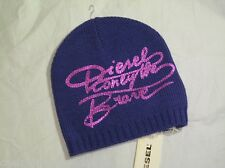 BNWT - DIESEL Girls Wool Blend Only The Brave Beanie Hat  Mauve