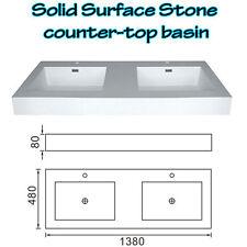 BATHROOM SOLID SURFACE STONE TWIN BASIN ABOVE COUNTER MATT FINISH 1380 x 480 x80