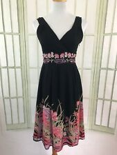 Dressbarn Black A-Line Coral Floral Dress Lined Small Embroidered Sequins V Neck