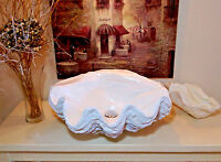 Giant Clam Shell Bathroom Sink Wash Basin Vessel Bowl Art In White / Bronze