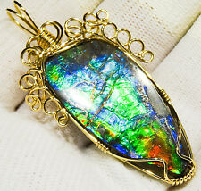 LARGE CANADIAN AMMOLITE PENDANT 14K GOLD, INTENSE BRIGHT BLUE GREEN RED