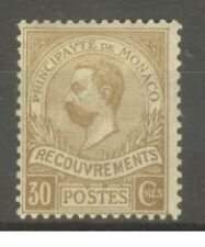 "MONACO STAMP TIMBRE TAXE N°10 "" PRINCE ALBERT 1er 30c BISTRE 1910 "" NEUF xx TB"