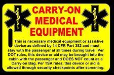 Safety Yellow Carry-On Medical Equipment  Bag Tag - TSA - CPAP BiPAP APNEA POC