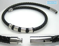 Herren Edelstahl Leder Halsband Halskette schwarz 6,3mm/ 46cm Top Kunstleder