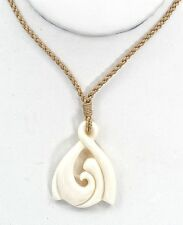 Hand Carved in Hawaii Wave Necklace on an Adjustable Natural Hemp Cord