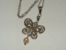 """10K SOLID White Gold Butterfly W/  Pink FW Cult Pearl Pendant 17""""L Made In USA"""