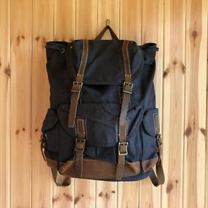 Mens Rucksack Bag Backpack Leather Waxed Canvas Flap Brown Large Blue Drawstring