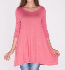 Plus Size 3X/3XL New 3/4 Sleeve Marsala Soft Pink Tunic Top Shirt Blouse Dress