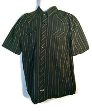 Southpole 3XL Short  Sleeve Black Button Front Shirt with Blue and White Stripes
