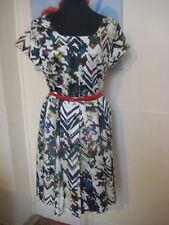 PRIVILEGE Australia Stretch Cotton Retro Styled Pleated Dress Size 14 NEW